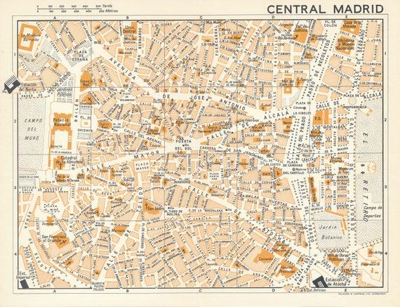 1964 Madrid Spain Vintage Map on san juan puerto rico map, jerez spain map, catalonia spain map, ibiza spain map, world map, andalucia spain map, barcelona map, tokyo japan map, zurich switzerland map, london england map, beijing china map, sydney australia map, rio de janeiro brazil map, seville spain map, france map, moscow spain map, moscow russia map, granada spain map, oslo norway map, stockholm sweden map,