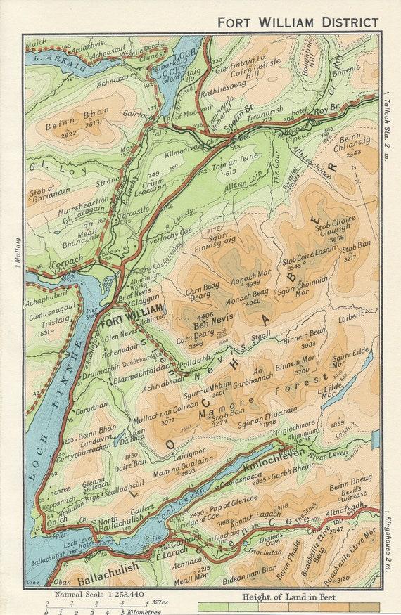 Lochaber Scotland Map.1959 Fort William Scotland Vintage Map Etsy