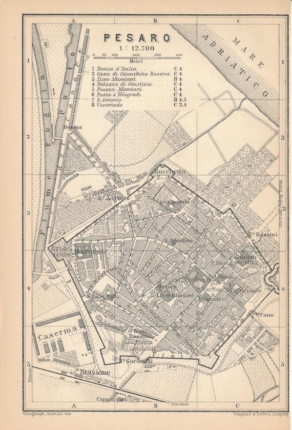 Cartina Della Grecia Antica In Italiano.Mappa Antica Di 1897 Pesaro Italia Etsy