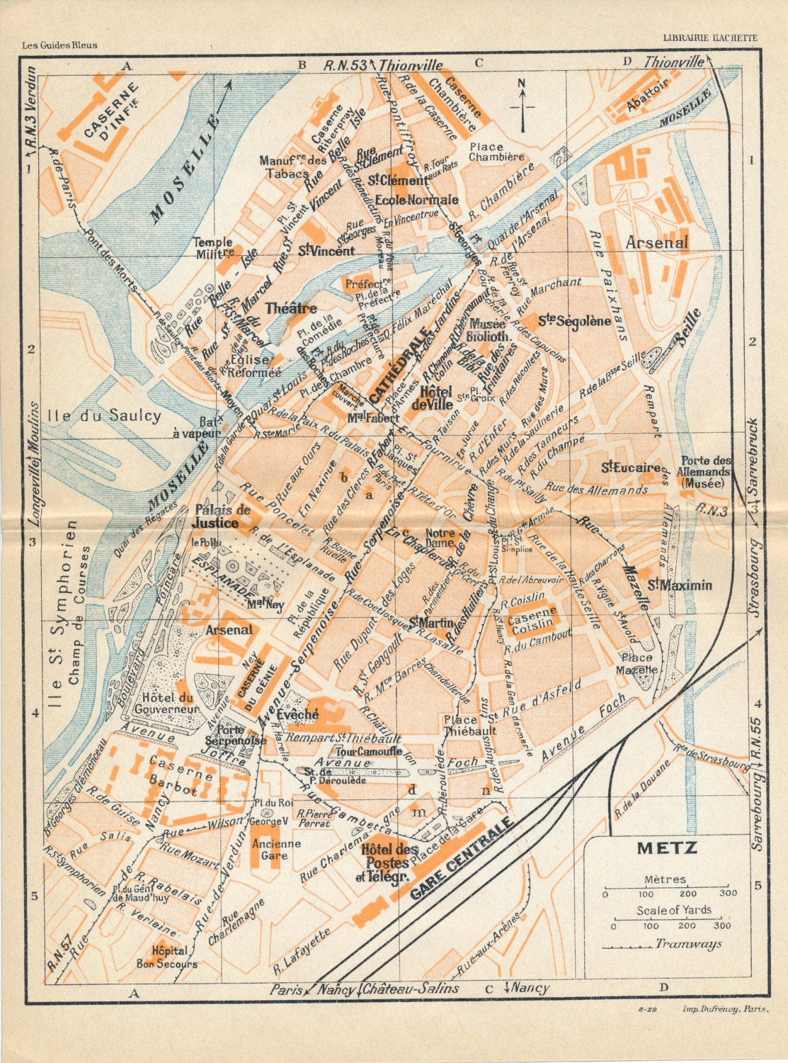 1930 Metz France Antique Map Etsy
