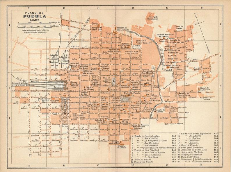 1911 Puebla Mexico Antique Map Etsy