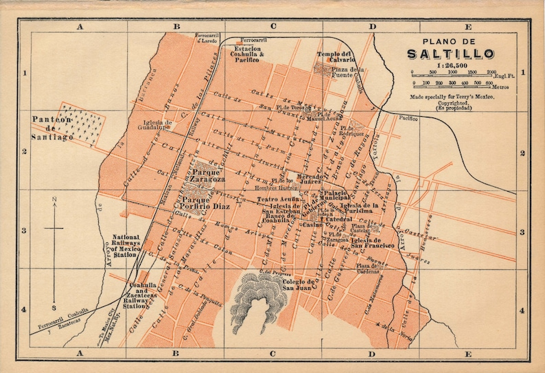 1911 Saltillo Mexico Antique Map Etsy