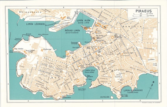 1962 Piraeus Athens Greece Vintage Map Etsy