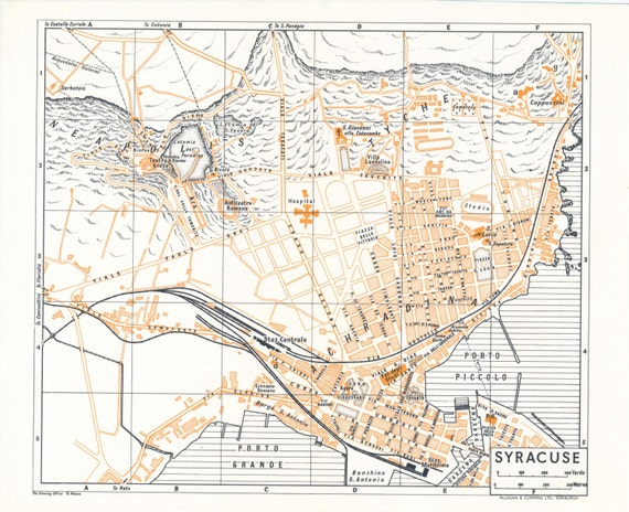 1959 Syracuse Sicily Italy Vintage Map Etsy