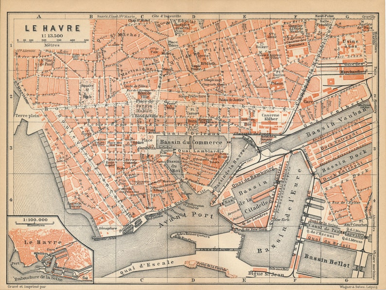 1910 Antique Map Of Le Havre France Etsy