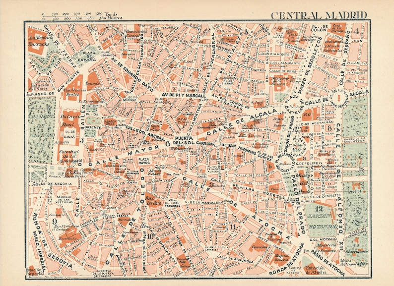Map Of Spain 1930.1930 Madrid Spain Antique Map