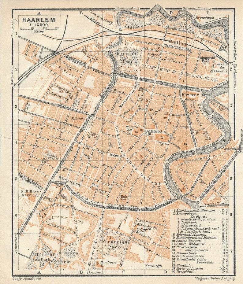 1910 Haarlem Niederlande antike Karte