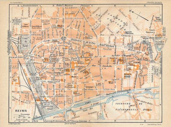 1930 Reims France Antique Map | Etsy