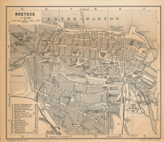 1910 Rostock Germany Antique Map Etsy