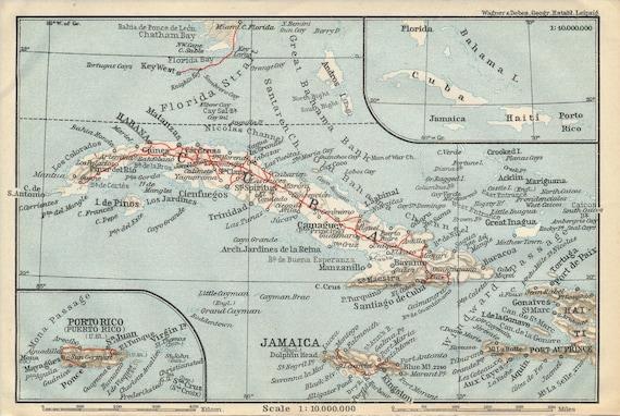 Map Of Florida Cuba And Puerto Rico.1909 Cuba Featuring Puerto Rico Jamaica Haiti Bahamas Etsy