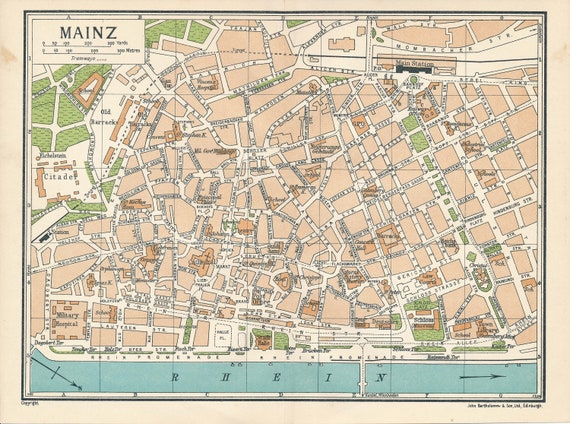 1933 Mainz Germany Antique Map Etsy