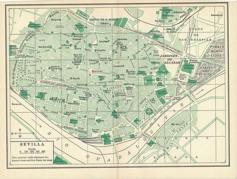 Map Of Spain 1930.1930 Seville Spain Antique Map