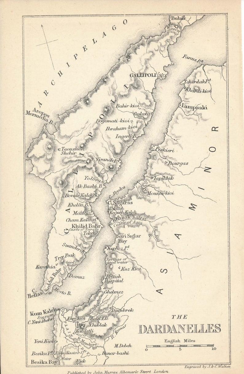 1881 Dardanelles Turkey Antique Map   Etsy on