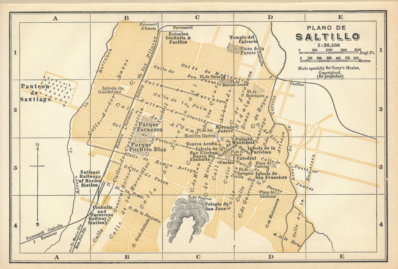 1925 Saltillo Mexico Antique Map Etsy