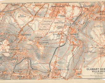 1910 Antique Map of Clamart, Sceaux, Villejuif, Paris France