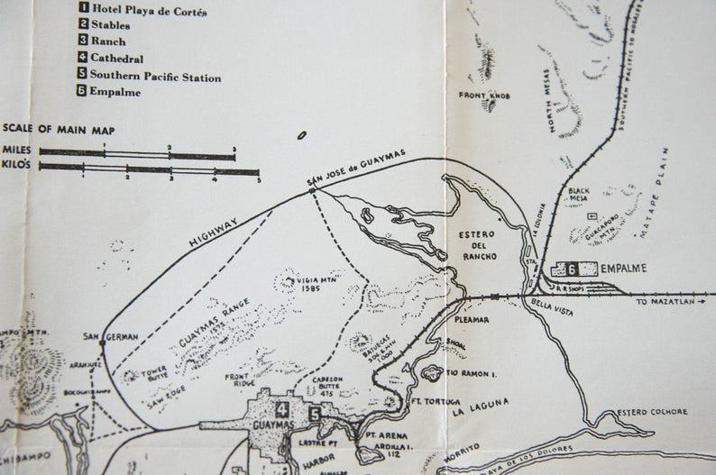 1943 Guaymas Mexico Vintage Map Etsy