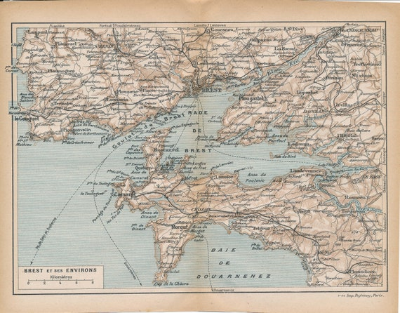 1924 Brest France Antique Map Etsy