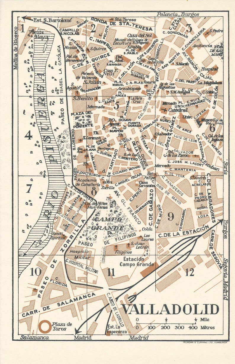 Map Of Spain Valladolid.1958 Valladolid Spain Vintage Map