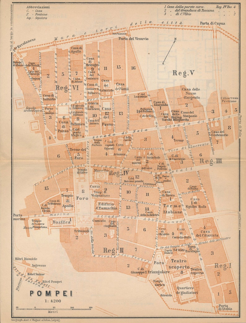 Where Is Pompeii On A Map Of Italy.1908 Pompeii Italy Antique Map