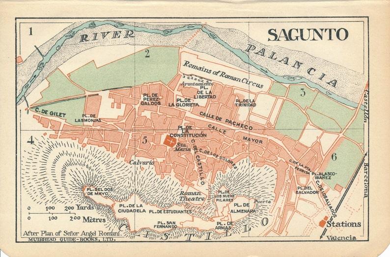 Map Of Spain 1930.1930 Sagunto Spain Antique Map