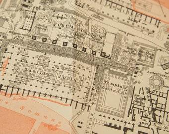 1909 Roman Forum, Rome Italy Antique Map