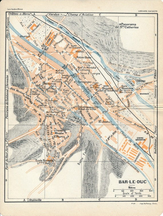 1909 Bar-le-Duc France Antique Map