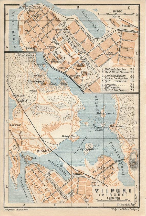 1929 Viborg Denmark Antique Map