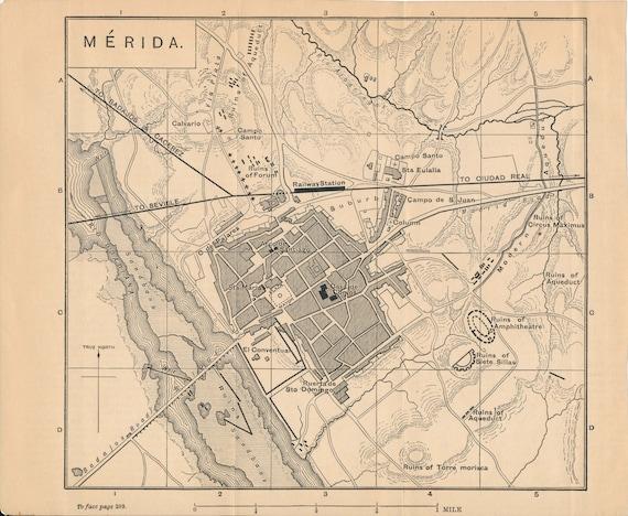 1892 Merida Spain Antique Map Etsy