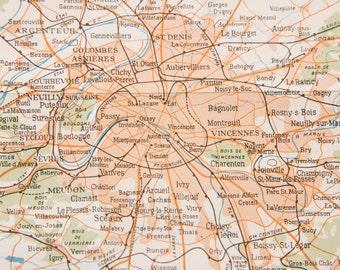 1927 Paris France Antique Map