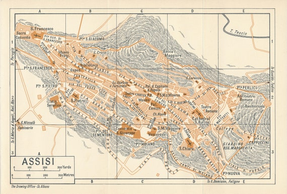1956 Assisi Italy Vintage Map Etsy