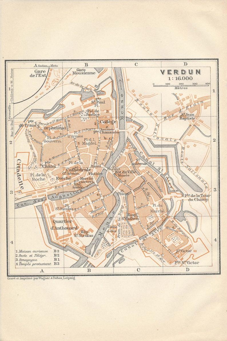 1909 Verdun France Antique Map Etsy