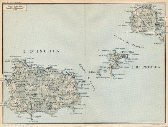 1930 Ischia Italy Antique Map