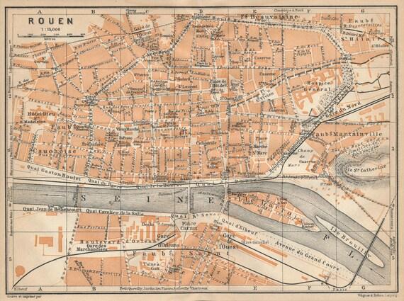 1913 Rouen France Antique Map | Etsy