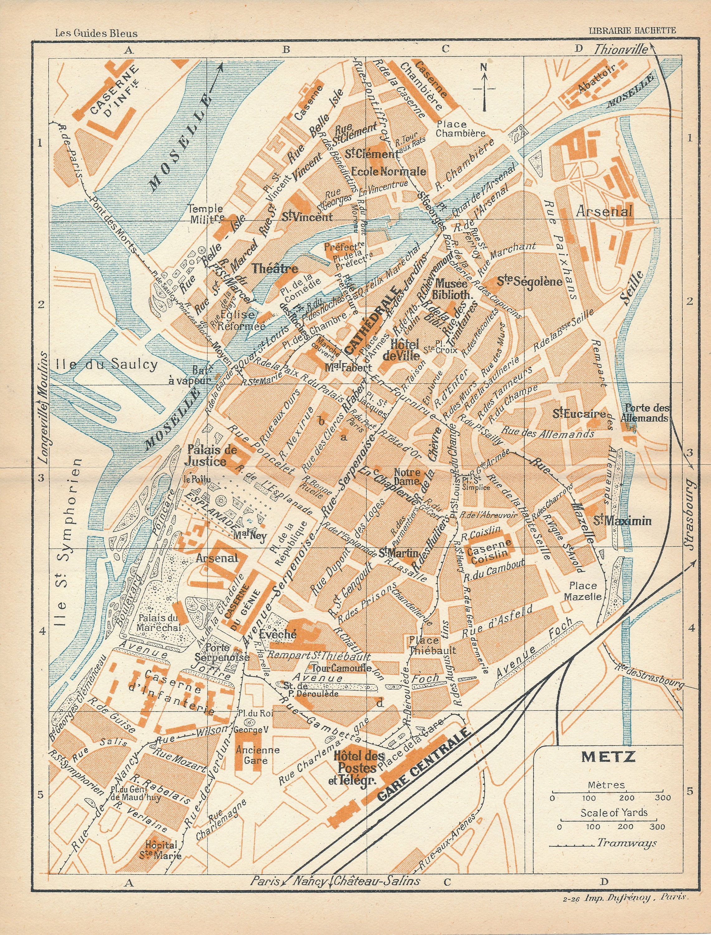 1922 Metz France Antique Map Etsy