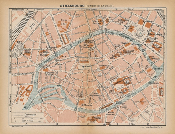 1925 Strasbourg France Antique Map | Etsy