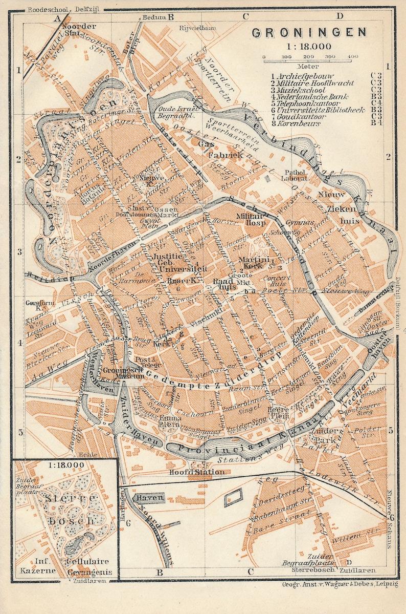 1910 Groningen Netherlands Antique Map | Etsy