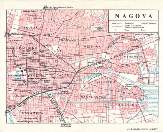 1974 Nagoya Japan Vintage Map