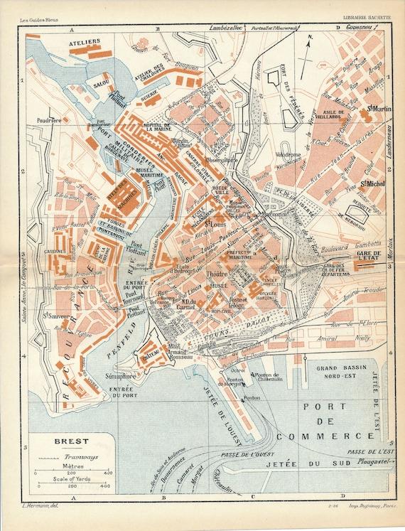 1926 Brest France Antique Map Etsy