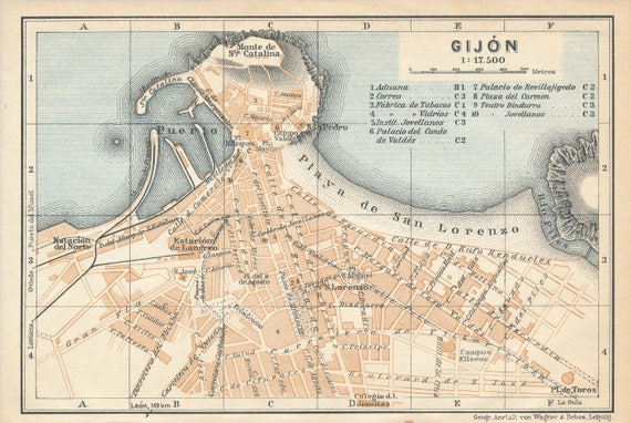 Gijon Spain Map.1927 Gijon Spain Antique Map Etsy