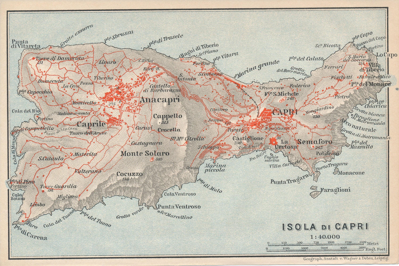 1912 Isle Of Capri Italy Antique Map Etsy