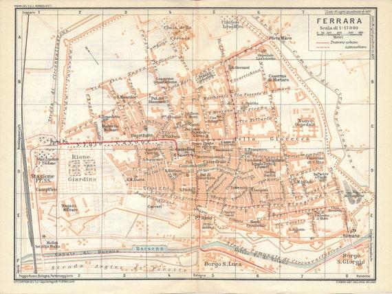 Cartina Della Grecia Antica In Italiano.Mappa Antica Di 1927 Ferrara Italia Etsy
