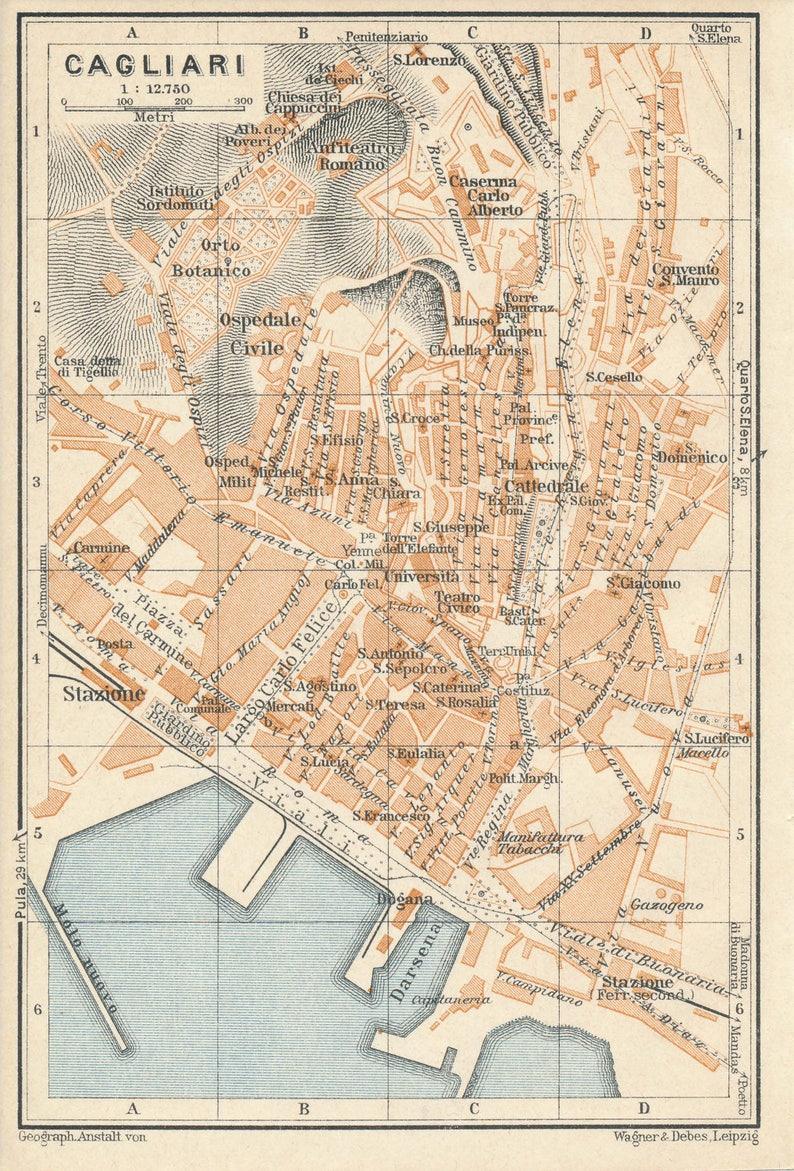 Carte Italie Et Sardaigne.Carte De 1929 Cagliari Sardaigne Italie Antique Etsy