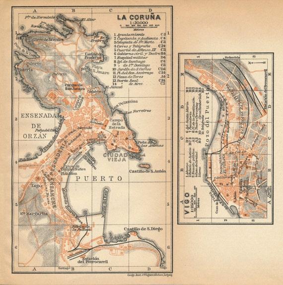1908 La Coruna And Vigo Spain Antique Map Etsy