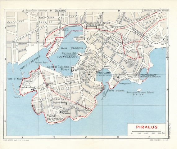 1964 Piraeus Athens Greece Vintage Map Etsy