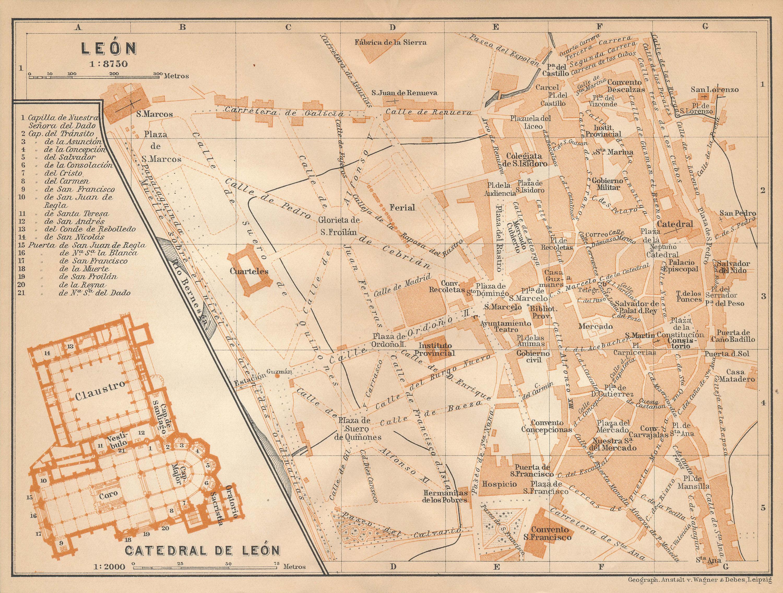 Map Of Spain Leon.1908 Leon Spain Antique Map