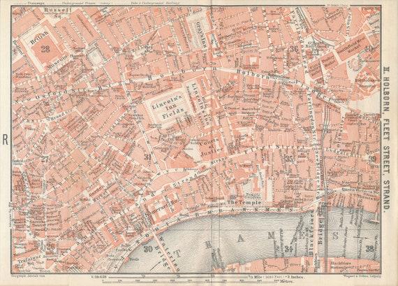Street Map London Uk.1908 London Street Map London England United Kingdom