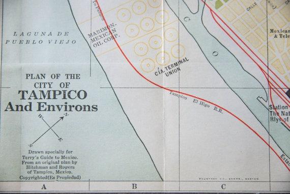 1933 Tampico Mexico Antique Map Etsy