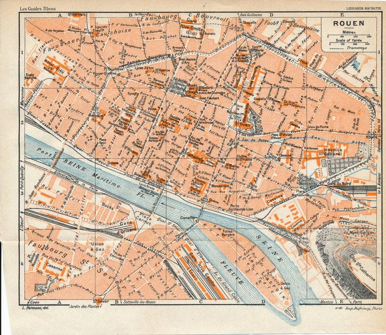 Map Of France Rouen.1932 Rouen France Antique Map