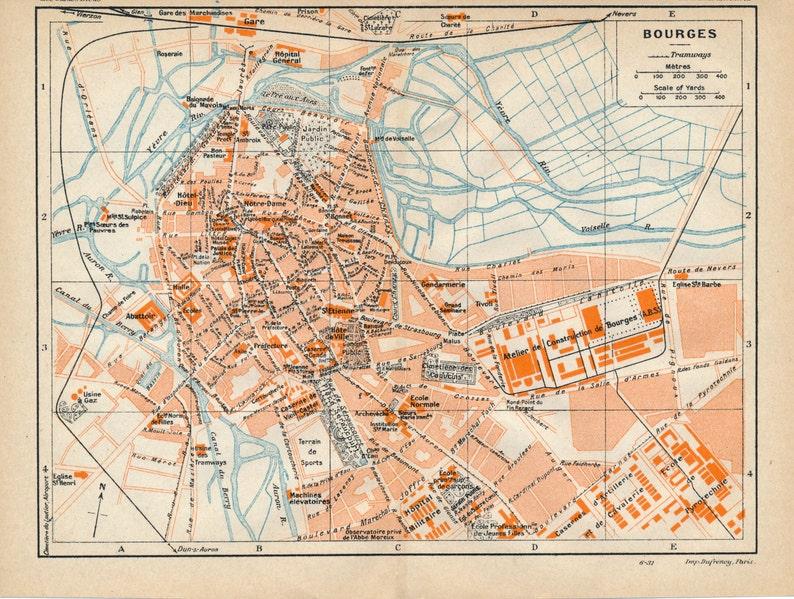 Antiques Saintes 1926 Old Vintage Map Plan Chart Europe Maps France