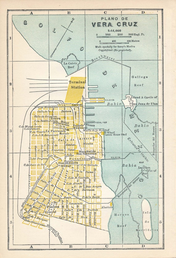 1940 Vera Cruz Mexico Vintage Map Etsy